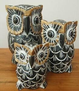 Set of 3 hand carved and hand painted wooden owls from Bali