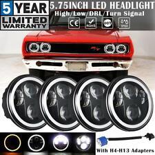 """4x 5.75"""" 5-3/4"""" LED Headlights Halo DRL Angel Eyes Sealed Beam for Dodge Coronet"""