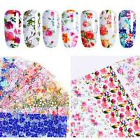 10 Pcs/Set Mixed Flowers Nail Foils Nail Art Transfer Stickers 3D Floral Decals