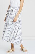 POLO RALPH LAUREN Womens Sz 4 Linen Patchwork Boho Skirt CREAM & INDIGO NWT