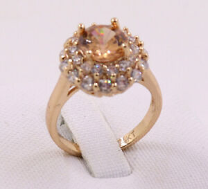 Delicate Jewelry Natural 3.18ct Citrine 14k Solid Yellow Gold Rings Size 6.5#