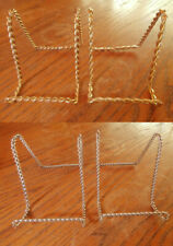2 Twisted Metal Plate Picture Frame Stand Display Easel Gold or Silver color