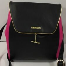 Juicy couture backpack travel purse black hot pink large book bag