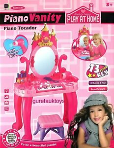 Piano Vanity Dressing Table Mirror Make Up Play Set 13 Music Key Light Girl Toy
