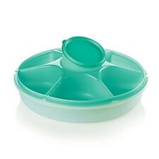 Tupperware Serving Center Set - SEA GREEN with SHEER ICE Domed Cover - NIP