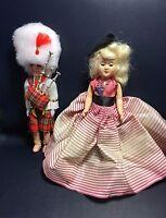 """2 Vintage 6"""" Hard Plastic Doll Sleep Eyes Bag Pipe Lot 5"""