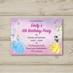 Disney Princess Cinderella Snow White 10 Personalised Birthday Party Invitations