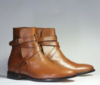 Handmade High Ankle Brown Jodhpurs Leather Boot. Boots for men.