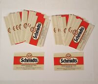 "Vintage Schmidt's Beer Labels - Lot of 50 - 3.5"" X 2"" - for 12 oz Bottles Phila."