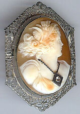 *EXQUISITE ANTIQUE VICTORIAN WHITE GOLD SHELL LADY WITH DIAMOND CAMEO PIN*