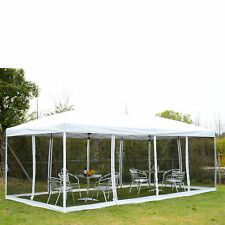 10x20 Outdoor EZ Pop Up Wedding Party Tent Patio Gazebo Canopy Mesh White w/Bag