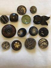 Vintage Buttons Glass Metal Plastic Bakelite wood Mixed Lot