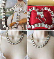 Art Deco Mother of Pearl faux Diamond paste Collar Necklace Jewellery