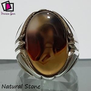 Ring 925 Sterling Silver Men Agate Aqeeq Stone Natural Yemeni Handmade عقيق يمني