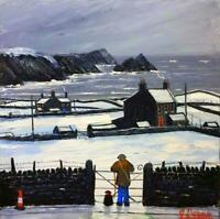Original Huge Oil Painting Noted Artist James Downie : Winter Coast Wales