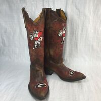 Game Day Boots UGA Bulldogs Brown Leather Point Pull On Women Cowboy Boots Sz 6B