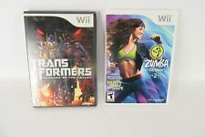 Lot of 2 Wii Games Zumba Fitness 2 & Transformers Revenge of the Fallen