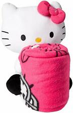 "NFL Carolina Panthers Hello Kitty Fleece Throw with Hugger 40"" x 50"" Blanket New"