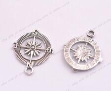 Wholesale 10Pcs Tibetan Silver Compass Charms Pendants Jewelry 29x25MM A49
