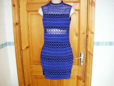 RIVER ISLAND cobalt blue bodycon dress on black size 6UK super condition hi neck