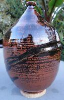 Vintage 60s 70s Glazed Stoneware Art Pottery Vase Vessel Mid Century Modern
