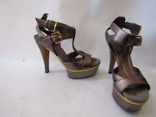 Gucci  Iman Gunmetal Trim Leather Platform T-Strap Heels Size 36