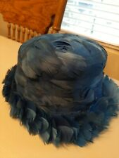 Antique Vintage Ladies Hat Feathered Royal Blue