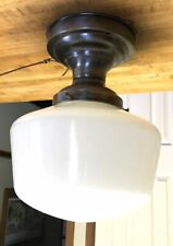 Vintage Antique Schoolhouse Light Globe Pull Chain Ceiling Silver Metal Base
