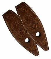 Pair of Brown Leather Floral Tooled Western Bit Guards FREE SHIPPING