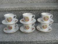 6 TASSES SUR SOUCOUPE Porcelaine FRAGONARDS filet or