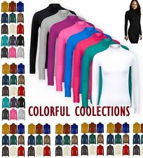 LADIES LONG SLEEVE POLO NECK ROLL NECK TOP WOMENS TURTLE NECK PLAIN JUMPER 6-26