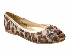 GIRLS LEOPARD PRINT GLITTER FLAT DOLLY CASUAL PUMPS PARTY SHOES UK SIZE 10-2