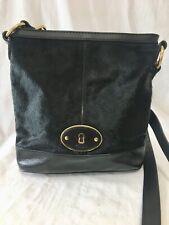 Fossil Vintage Reissue Black Bucket Bag Cow Hair Leather Crossbody Handbag
