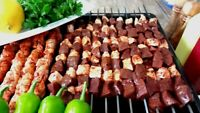 Shish Kebob Skewers for Grilling, Wooden Handle BBQ Grill Sticks, 6 Pcs, 16 in
