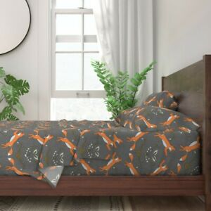 Woodland Fox Modern Gender Neutral Baby 100% Cotton Sateen Sheet Set by Roostery