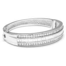 Cubic Zirconia Lined Rhodium Plated Bangle Bracelet FAST SHIP FROM USA