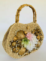 VTG 90s Rockabilly Pinup Wicker Purse Bamboo Handles Seashells Floral Mermaid