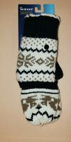 Isotoner Black Pattern Mittens Women's One Size SmartTouch Knit Gloves NWT!!
