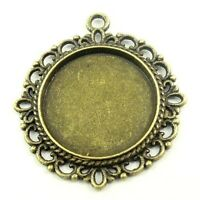 20pcs Vintage Bronze Alloy Lace Round Cameo Setting Pendants Inner 20*20mm 30455
