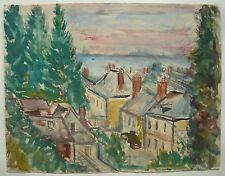 Belle AQUARELLE Ancienne Paysage Impressionniste Maison Toits c.1930/1940 #6