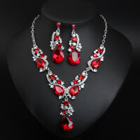 Classic Crystal Necklace Women Bridal Wedding Party Prom Costume Jewellery Set