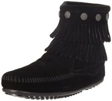 Minnetonka Double Fringe Side Zip Boot Womens 699 Black BOOTS Shoes Size 7
