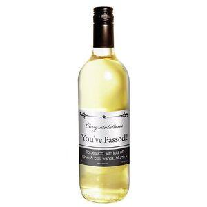 Personalised White Wine - Black Border Design - Congratulations, Graduation