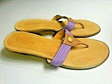 Eric Javits womens 9M thong sandal purple woven/ tan leather, suede EJ emblem