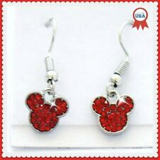 Disney Mickey Mouse Red Rhinestone  925 Silver French Wire Drop Earrings NWT