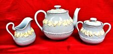 Wedgwood Queen's Ware Cream on Lavender Teapot Creamer & Sugar Shell Edge