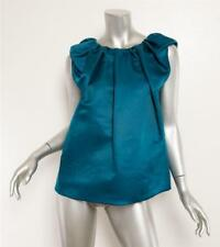 LANVIN Teal Blue Silk Pleated Ruched Crinkled Sleeveless Blouse Top 8-40 NEW