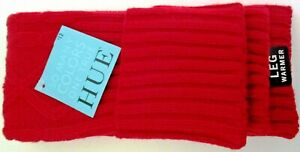 NEW, HUE Red Soft Ribbed Knit Legwarmers Sock, One Size, Cable Knit Design