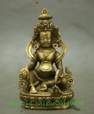 Folk Tibet Brass Buddhism Wealth God Joss Yellow Jamhala Buddha Statue b01