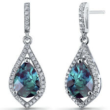 Simulated ALEXANDRITE Tear Drop Dangle Earrings Sterling Silver 5 Carats